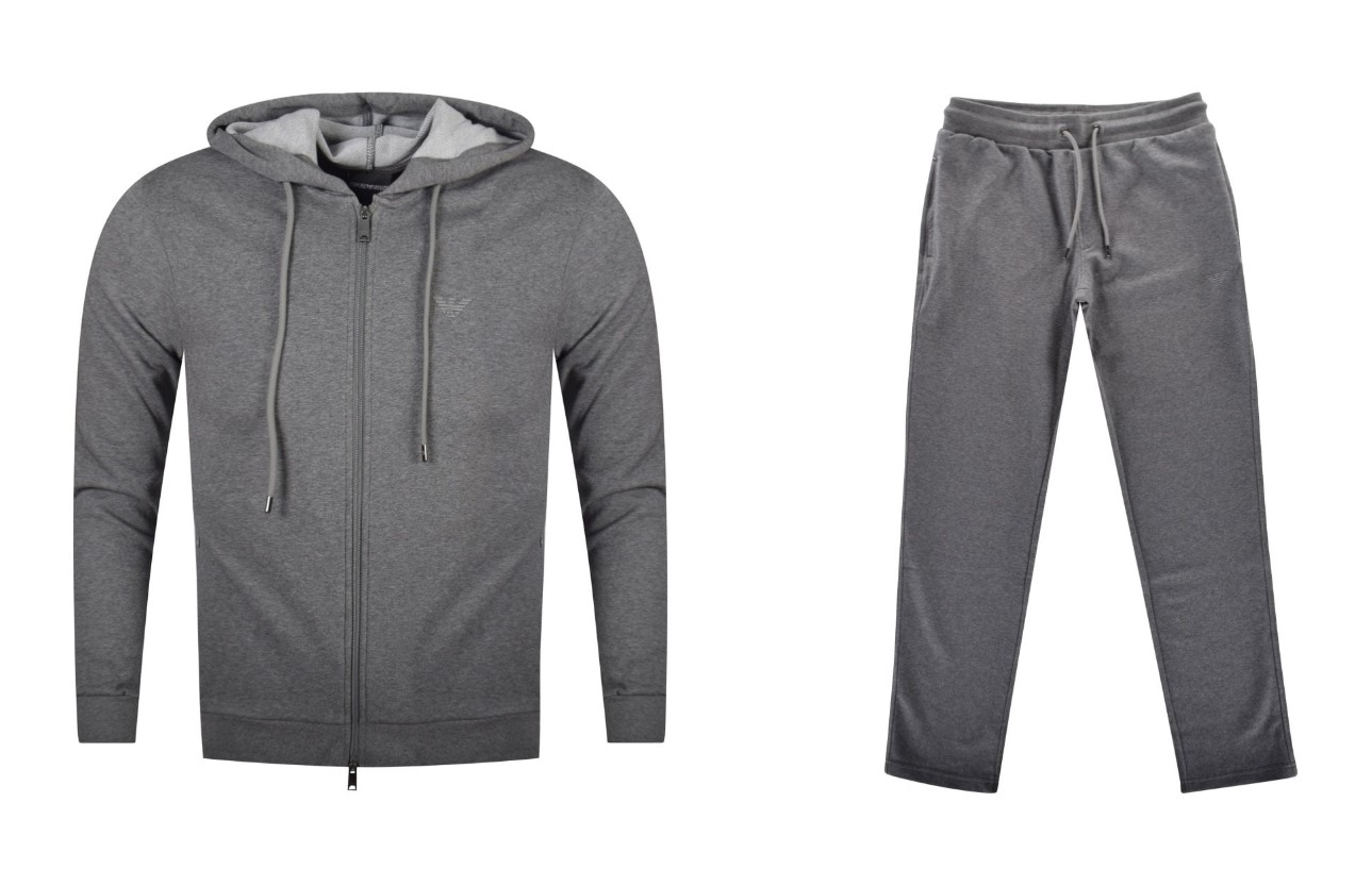 grey emporio armani hoodie and track pants