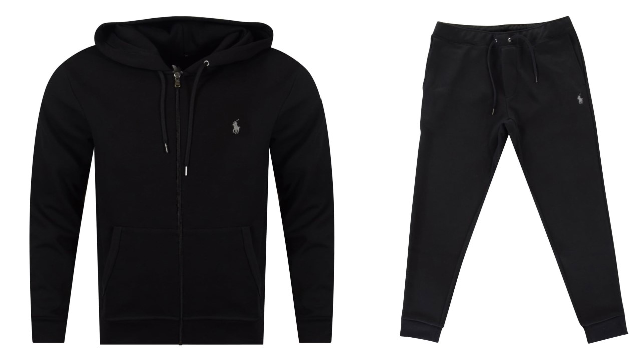 black hoodie and tracksuit bottoms Polo Ralph Lauren
