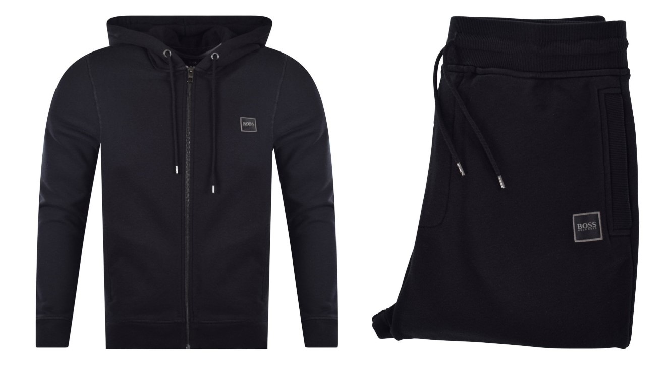 black boss zip hoodie and trousers tracksuit