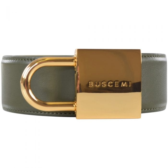 buscemi military green gold padlock belt