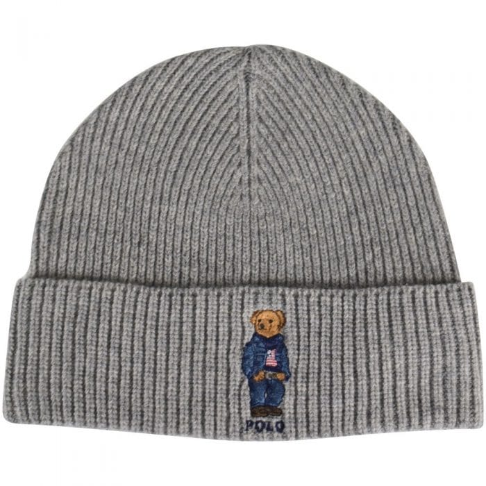 grey ralph lauren bear beanie hat