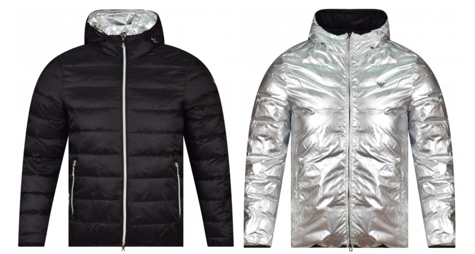 armani jacket puffer reversible black silver