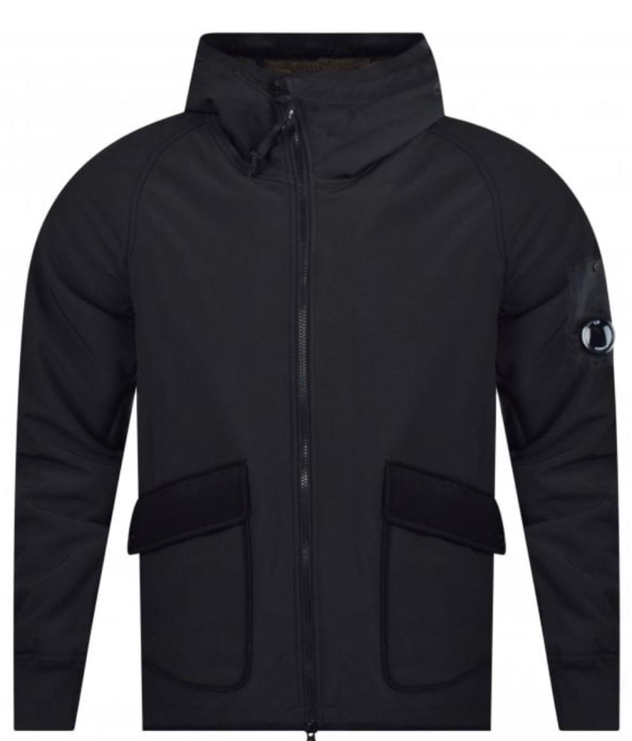 cp company hooded black fleece jacket
