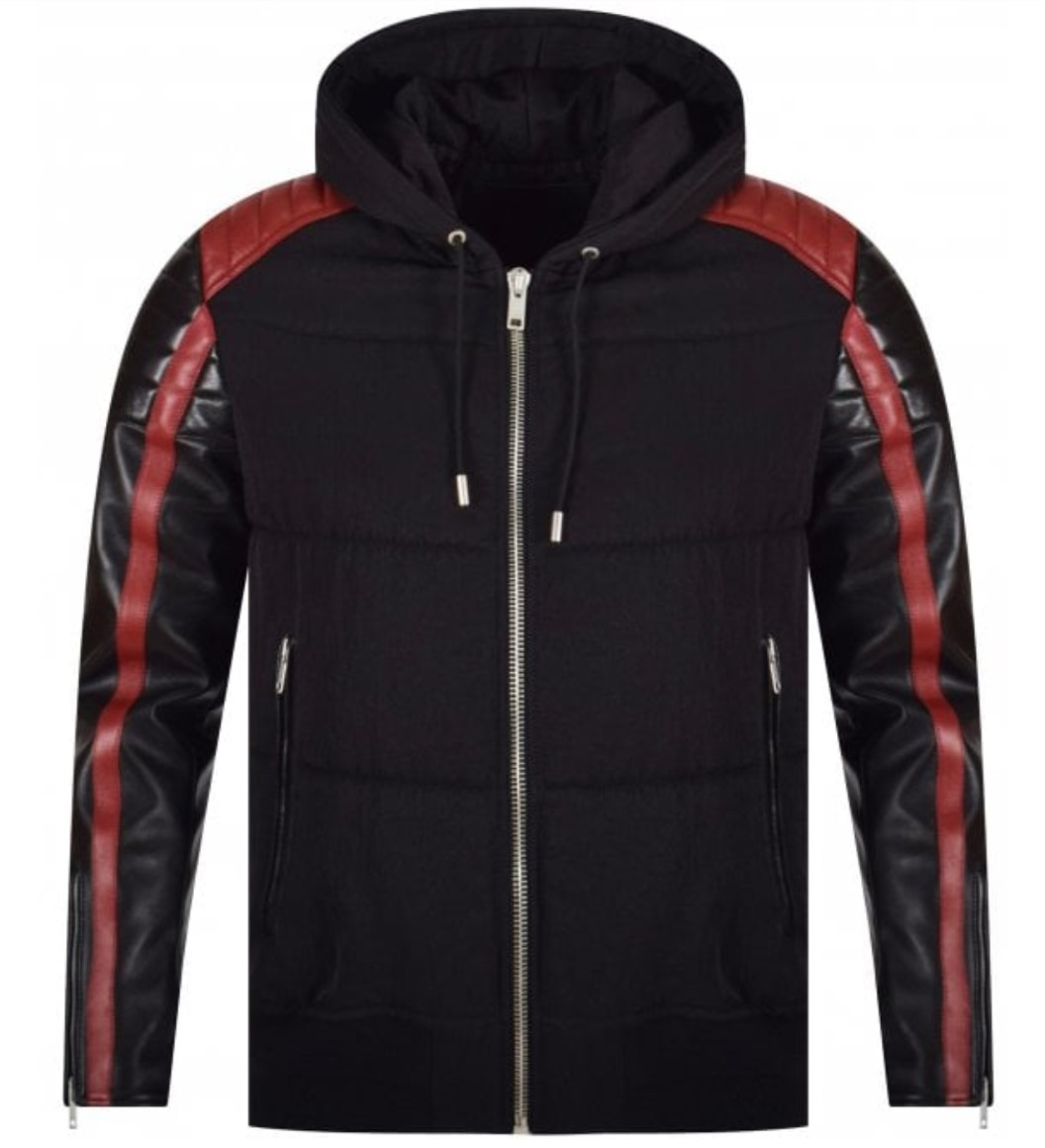 givenchy black and red leather quilted jacket