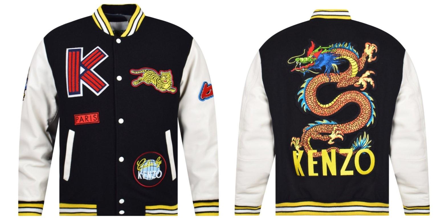 kanzo varsity jacket dragon embroidered black and white