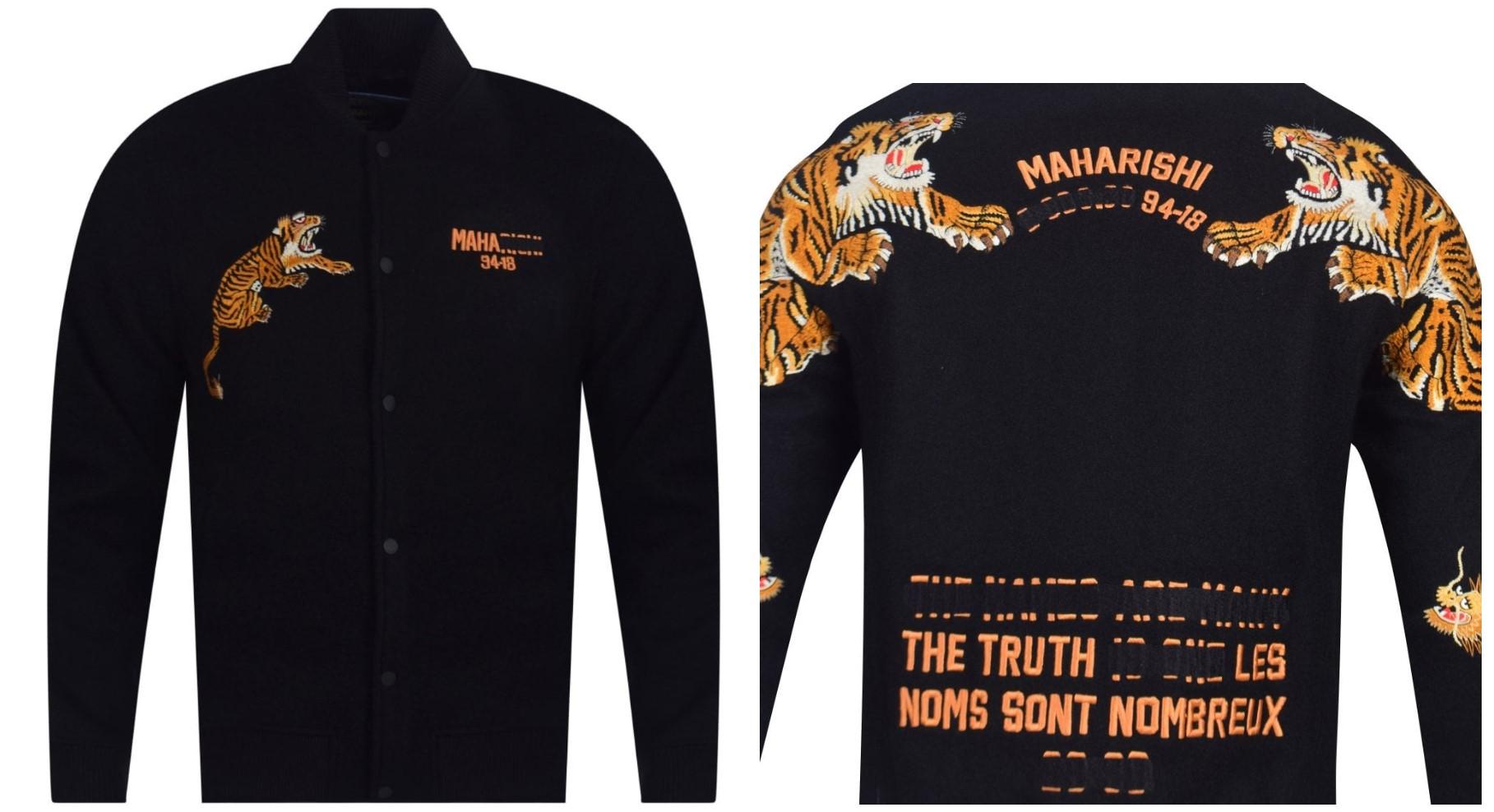 maharishi tiger embroidered college jacket black