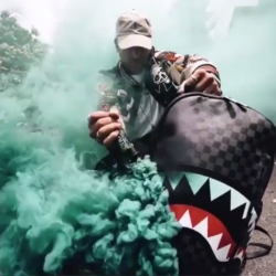blue smoke shark duffle bag