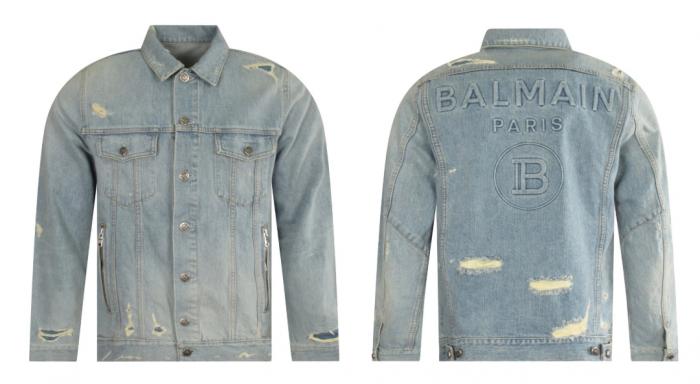 distressed denim jacket Balmain Paris branding