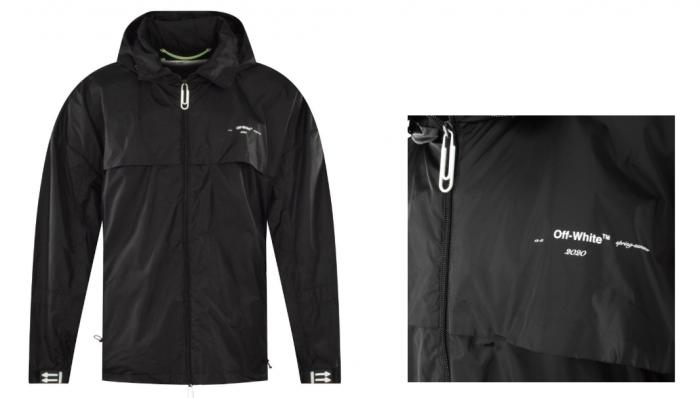 black raincoat off-white brand