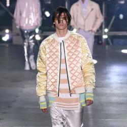 models in pastel on catwalk