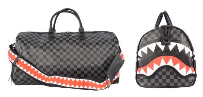 black and grey checkered men's duffel bag with shark mouth print