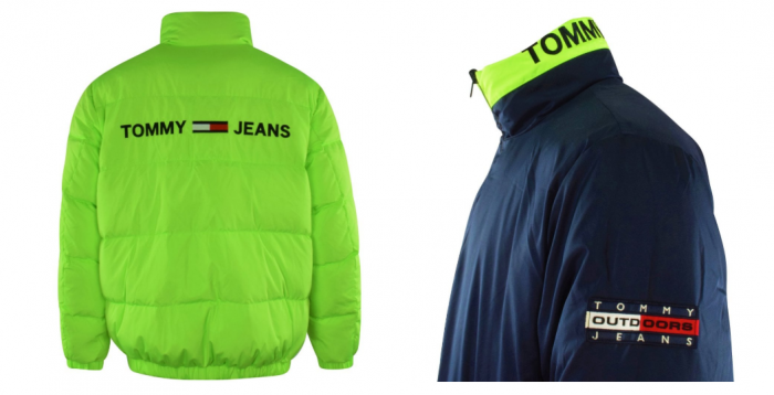 reversible neon green and dark blue tommy jeans jacket