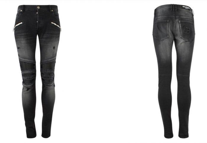front and rear black Balmain biker jeans