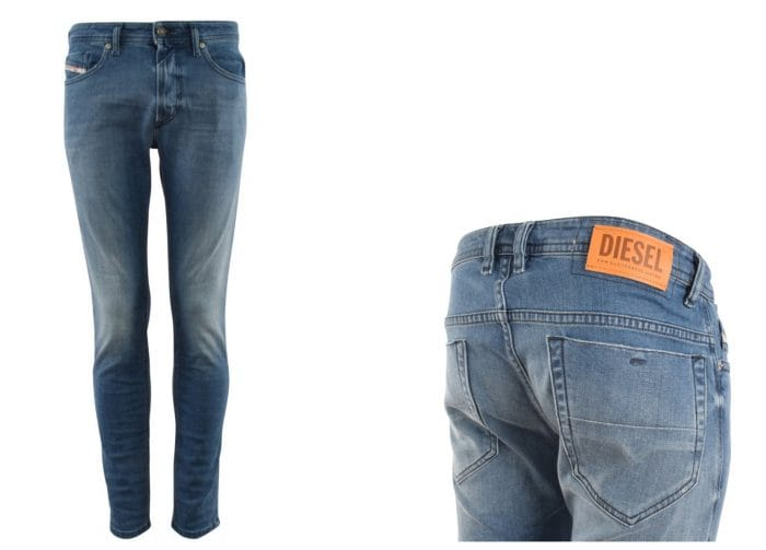 collage of Diesel light wash jeans front and rear