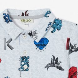 kenzo junior light grey logo pattern polo