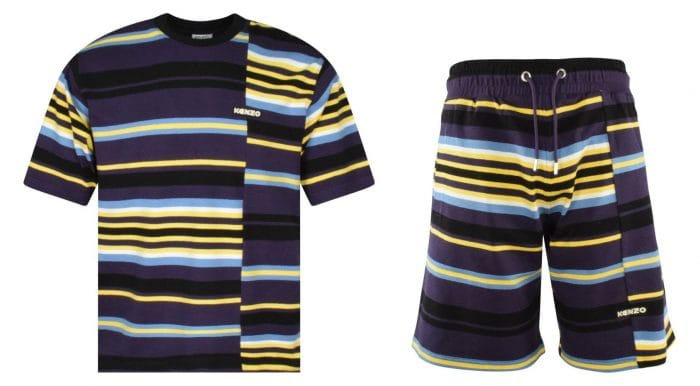 matching yellow and blue striped t-shirt and shorts kenzo