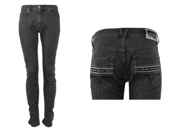 front and rear of dark grey versace jeans with pocket logo print