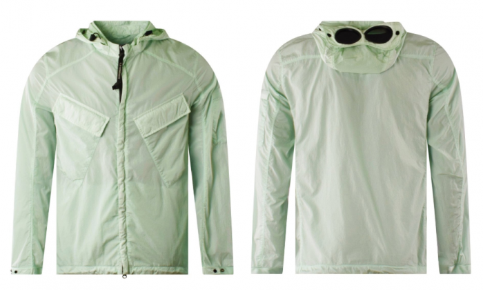 front and back of CP Company goggle-hooded jacket mint green
