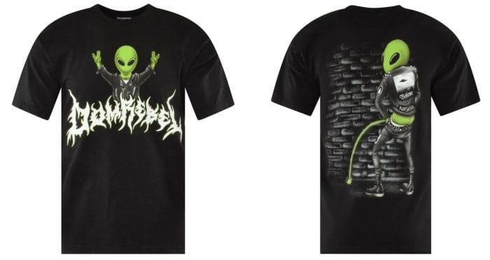 domrebel punk alien print graffiti tshirt mens