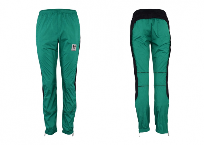 front and back mint green polyamide tracksuit bottoms from designer off-white
