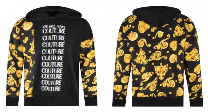 front and back of versace jeans couture hoodie in black and gold with glitchy logo print