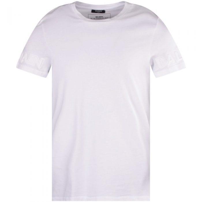 balmain white embossed sleeve t-shirt