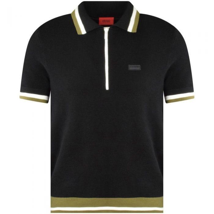 Black zip knit polo shirt