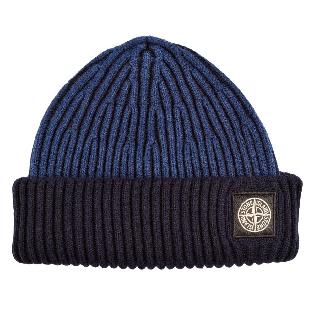 STONE ISLAND 6115N09C6 Blue Navy Beanie Hat 455b4af07d0