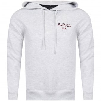 APC Grey Text Logo Pullover Hoodie