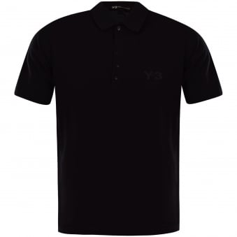 Adidas Y-3 Black Chest Logo Polo Shirt