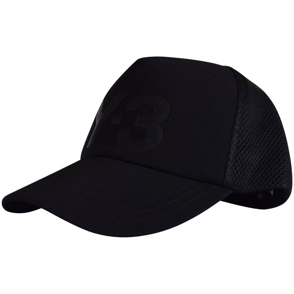 ADIDAS Y-3 Adidas Y-3 Black Mesh Back Logo Baseball Cap - Men from ... a7b73c5b1ac