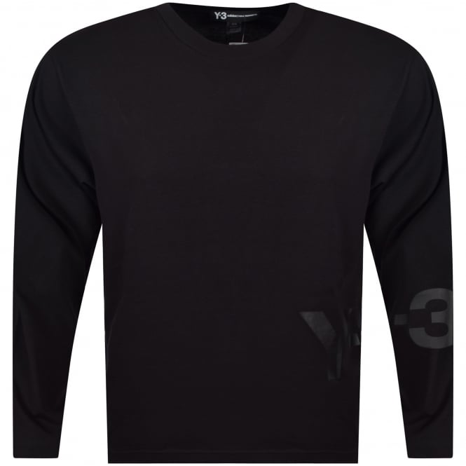 ADIDAS Y-3 Black Spill Logo Long Sleeve T-Shirt