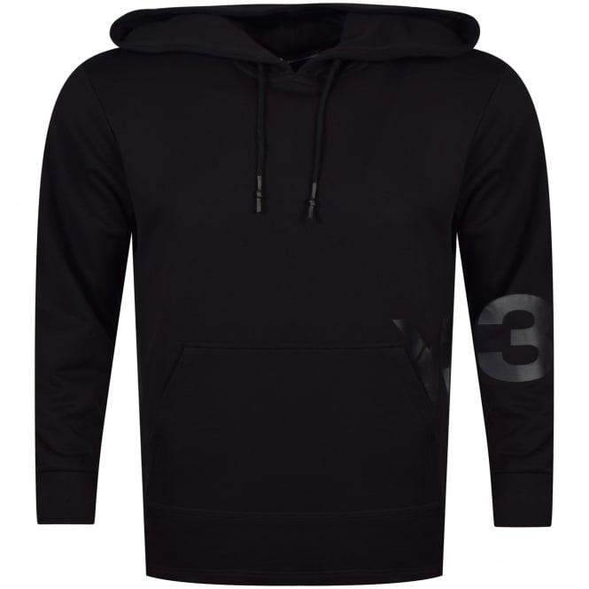 ADIDAS Y-3 Black Spill Logo Longline Pullover Hoodie
