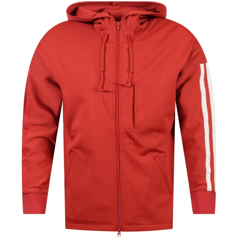 e009560cf9ab ADIDAS Y-3 Adidas Y-3 Red Zip Up Stripe Detailing Hoodie - Men from ...