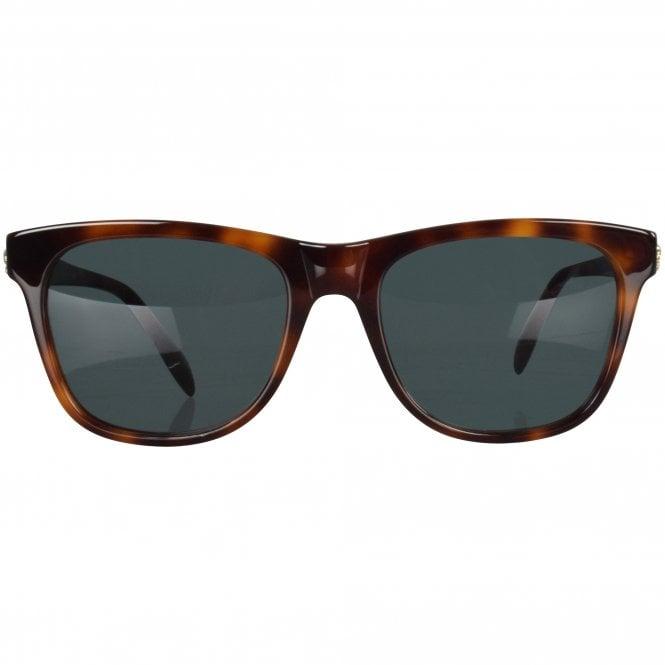 ALEXANDER MCQUEEN Tortoise Shell Gold Skull Sunglasses Front