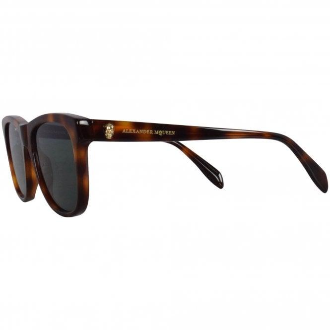 ALEXANDER MCQUEEN Tortoise Shell Gold Skull Sunglasses Reverse