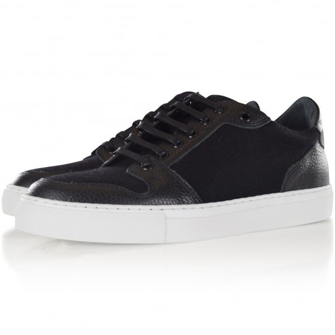 AMI PARIS AMI Black Leather/Wool Basket Trainers