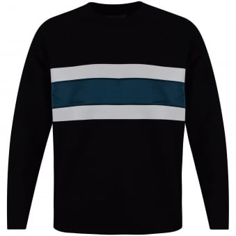 AMI Black Oversized Stripe Sweatshirt