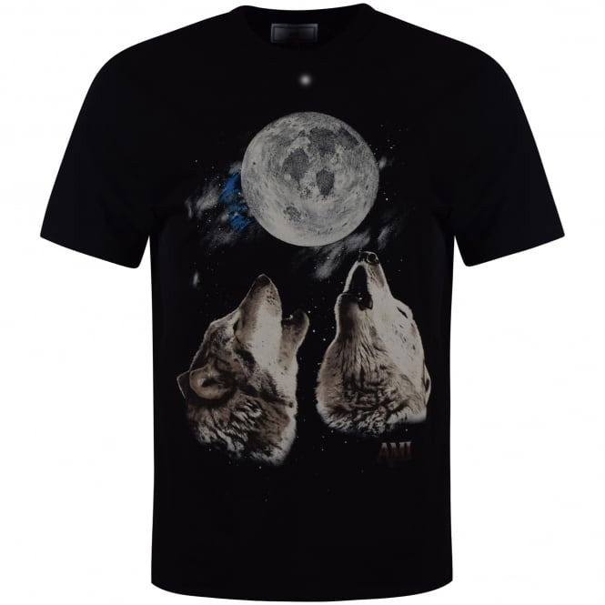 AMI PARIS AMI Black Oversized Wolf & Moon Logo T-Shirt