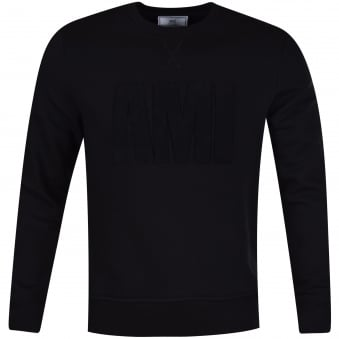 AMI Black Toweled Logo Sweatshirt