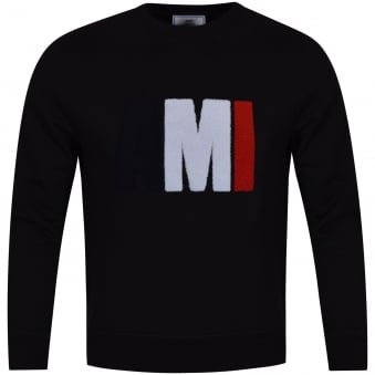 AMI Black Tricolour Toweled Logo Sweatshirt