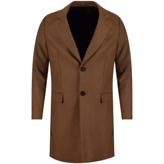 AMI Camel Long Wool Overcoat