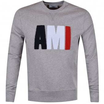 AMI Grey Tricolour Toweled Logo Sweatshirt