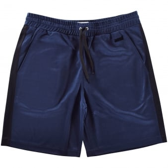 AMI Navy Panel Logo Jersey Shorts