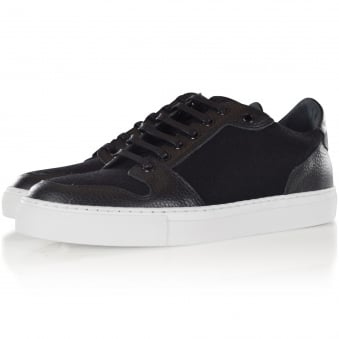 AMI Black Leather/Wool Basket Trainers