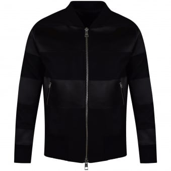 AMI Black Wool Stripe Bomber Jacket