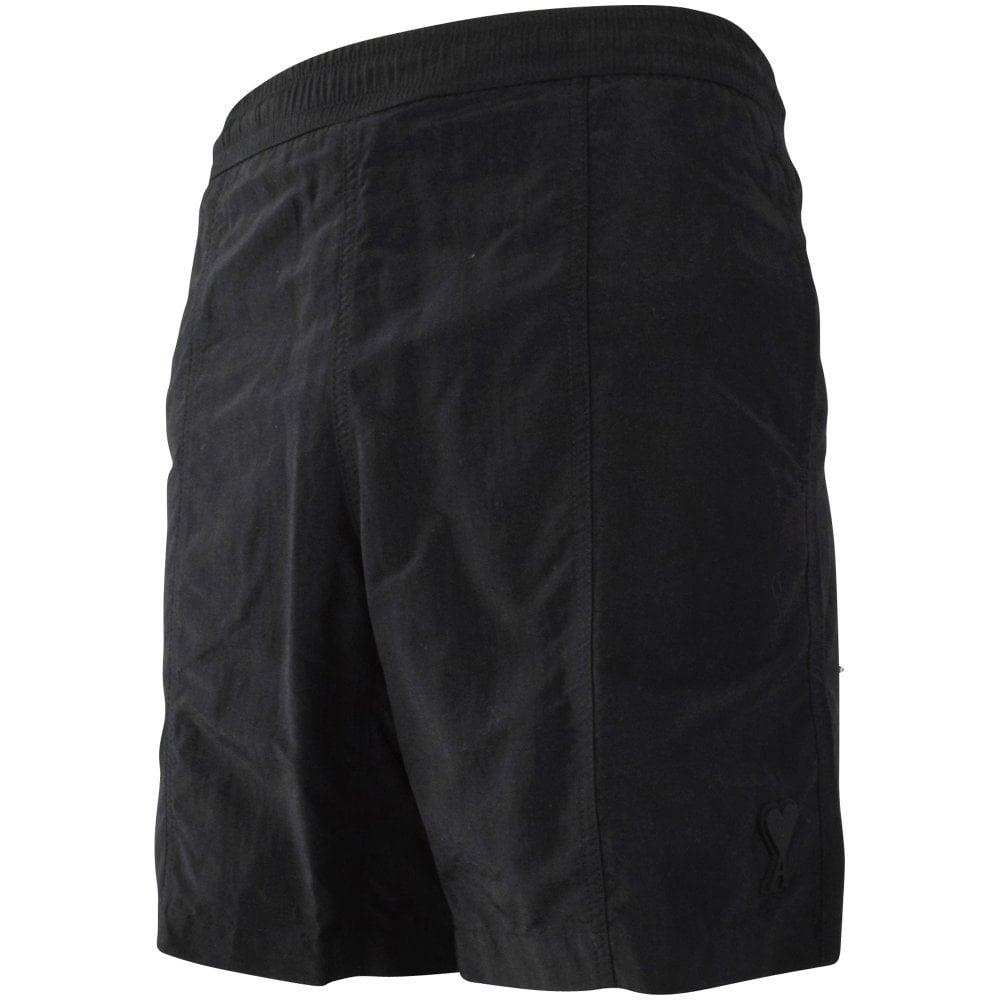 AMI PARIS Black de Coeur Swim Shorts Side