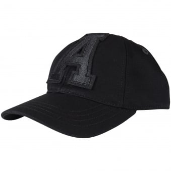 Black Embroidered A Cap