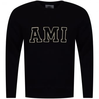 AMI Paris Black Large Logo Sweatshirt