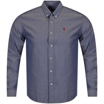 AMI Paris Blue Logo Oxford Shirt